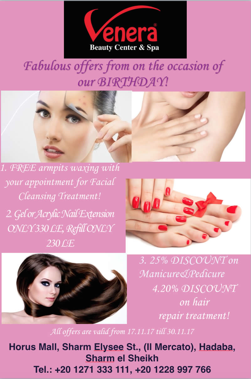 Fabulous Offers on the Occasion of Our Birthday @ Venera Beauty Center & Spa