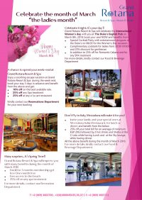 Happy Women's Day - Celebrate the month of March, 'The Ladies Month' @ Grand Rotana Resort & Spa - Sharm el Sheikh