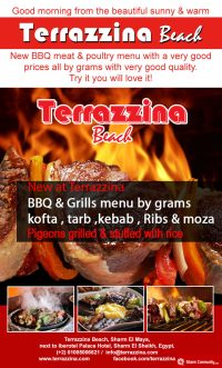 New BBQ meat & poultry menu by the grams. Try it you will love it! @ Terrazzina Beach