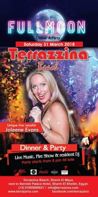 Full Moon Dinner & Party on Saturday, March 31st from 8pm till late @ Terrazzina Beach