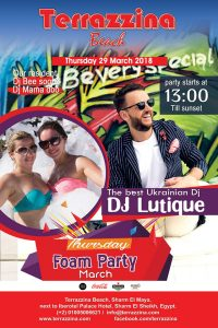 Foam Party on Thursday, March 29th from 1pm @ Terrazzina Beach
