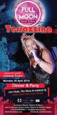 Full Moon Dinner & Party on Monday, April 30th from 8pm till late @ Terrazzina Beach