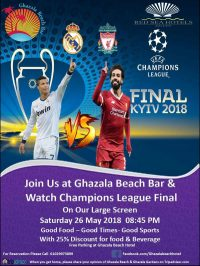 Join Us at Ghazala Beach Bar and Watch Champions League Final on Our Large Screen on Saturday 26 May 8:45pm