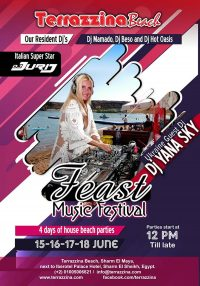 Feast Music Festival, 4 Days of House Beach Parties on 15,16,17 & 18 June from 12pm till late @ Terrazzina Beach