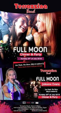 Full Moon Dinner & Party on Sunday, July 29th from 8pm till late @ Terrazzina Beach