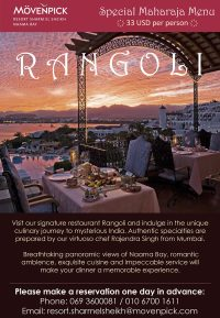 Special Maharaja Menu at Rangoli Indian Restaurant - Movenpick Resort Sharm El Sheikh