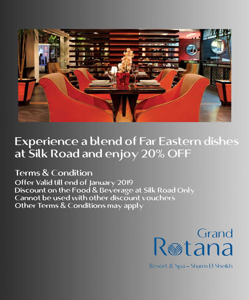 20% OFF at Silk Road Restaurant at Grand Rotana Resort & Spa