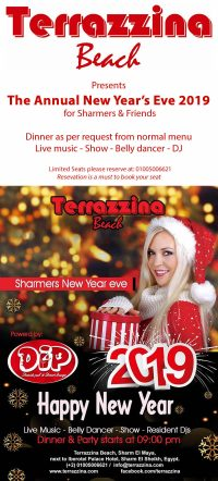 The Annual New Year's Eve 2019 for Sharmers & Friends @ Terrazzina Beach