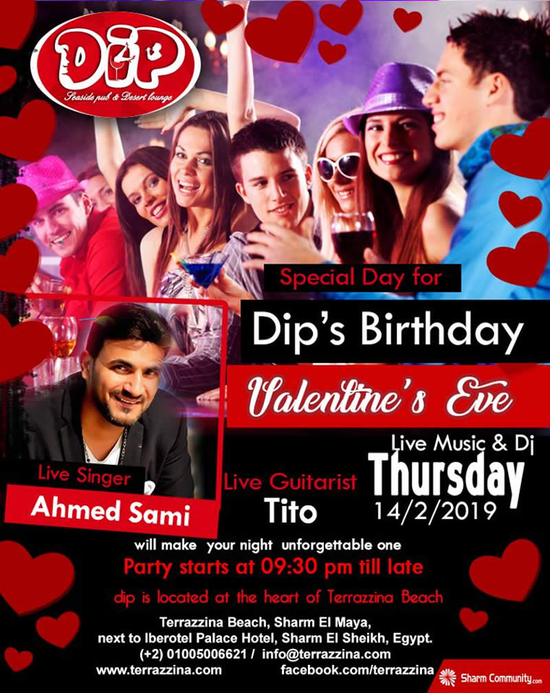 DIP Birthday Valentine's Eve Thursday 14th February @ Terrazzina Beach