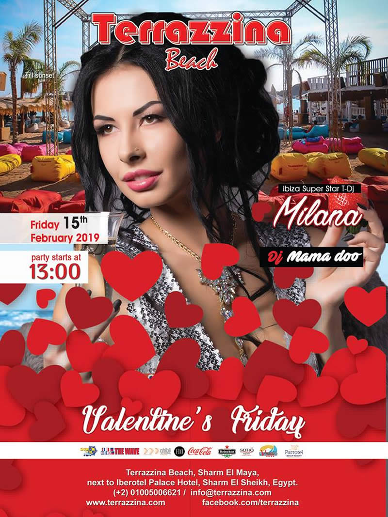 Valentine's Friday Beach Party on February 15th @ Terrazzina Beach
