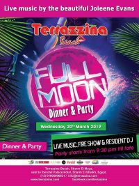 Full Moon Dinner & Party on Wednesday March 20th with live music by Joleene Evans @ Terrazzina Beach
