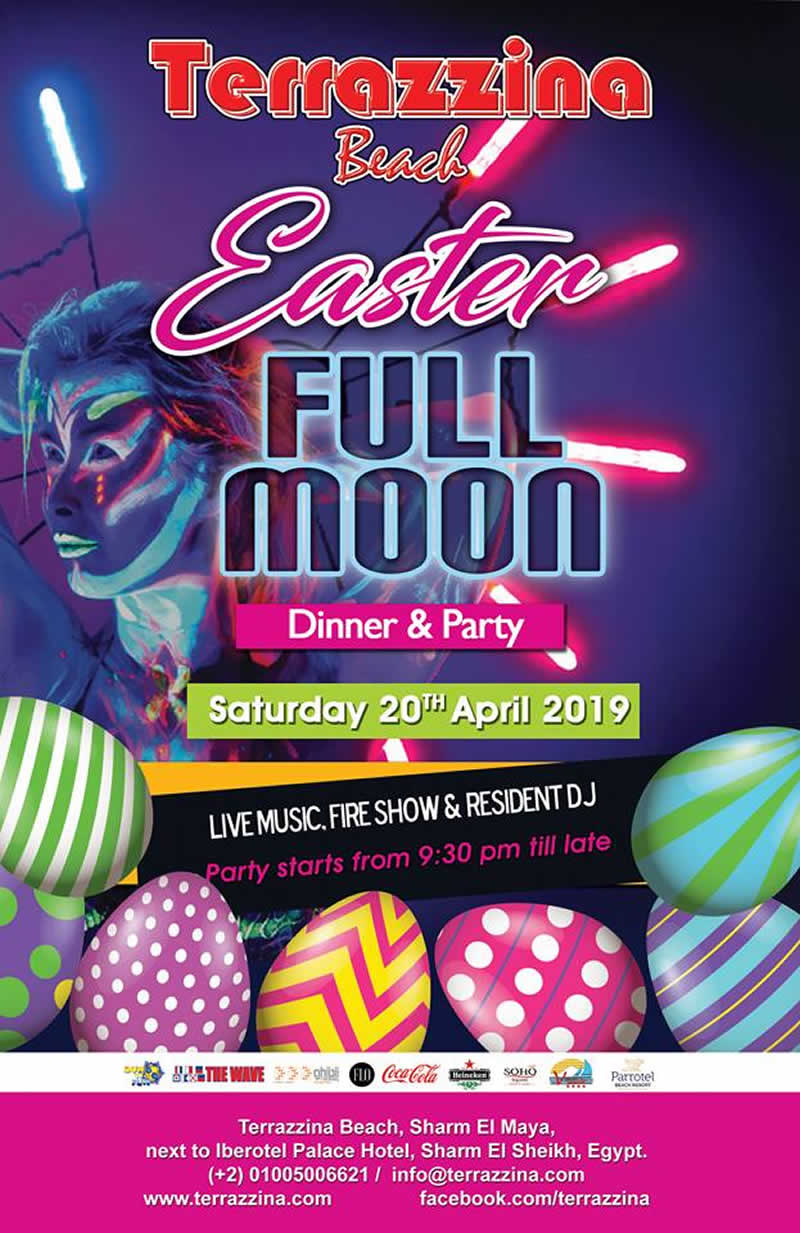 Easter Full Moon Dinner & Party on Saturday April 20th 9.30pm Live music, Fire show & Resident DJ @ Terrazzina Beach