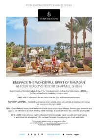 Embrace the wonderful spirit of Ramadan at Four Seasons Resort Sharm El Sheikh