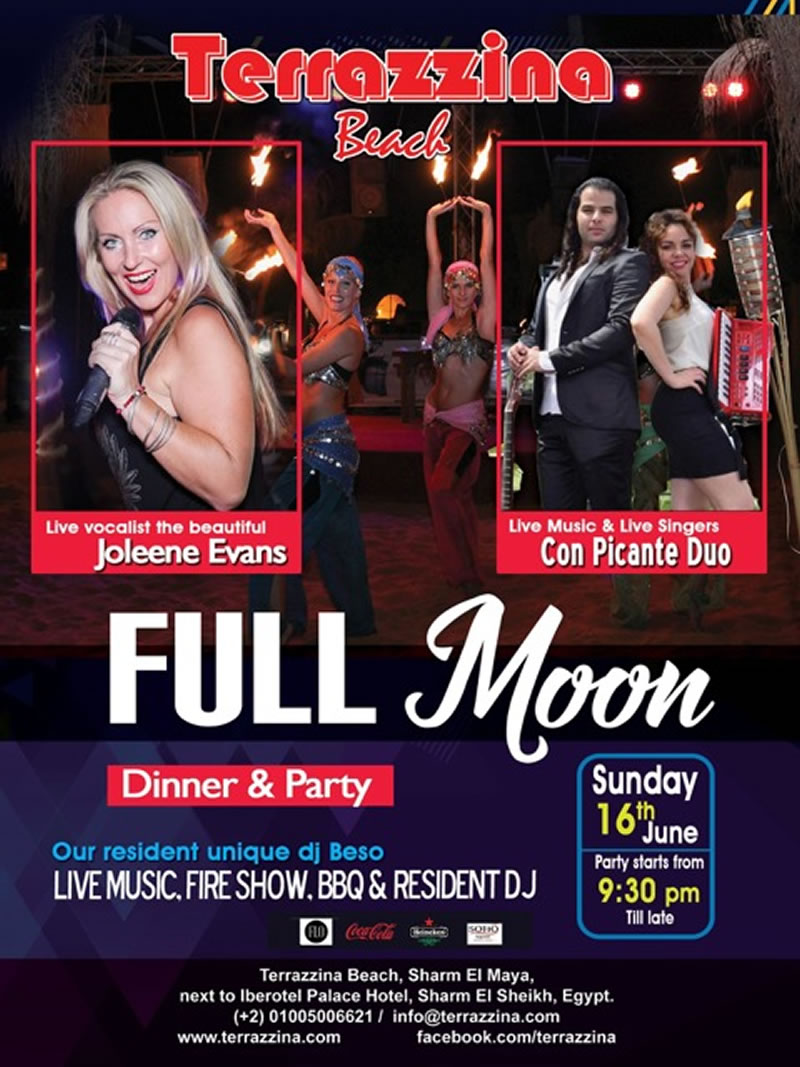 Full Moon Party with live music by Joleen Evans and Picante Duo on Saturday 16th June @ Terrazzina Beach