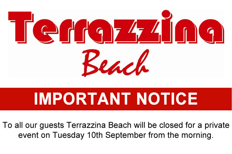 Terrazzina Beach Important Notice - Closes on Sep 10th for private event