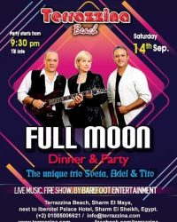 Full Moon Party with live music by Sveta, Adel & Tito on Saturday 14th September @ Terrazzina Beach