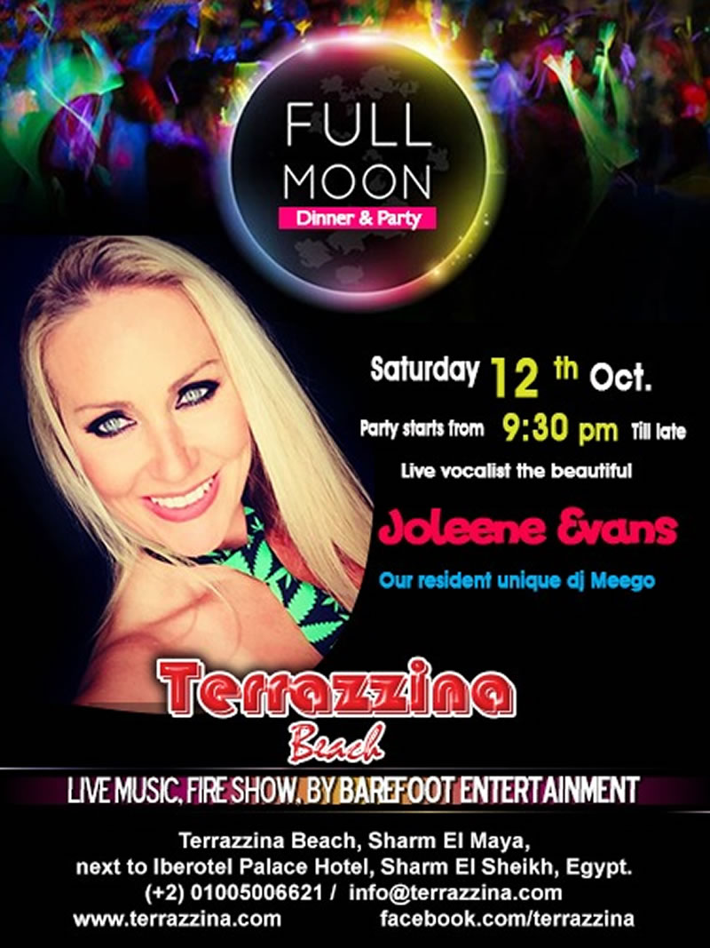 Full Moon Party with live music by Joleen Evans & Fire Show on Saturday, October 12th @ Terrazzina Beach
