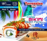 Friday Beach Bikini Party with free Sushi tasting on October 18th @ Terrazzina Beach