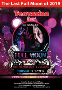 2019's last Full Moon Party with live music by Picante Duo & Joleen on Thursday, December 12th @ Terrazzina Beach