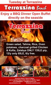 Tuesday at Terrazzina Enjoy a BBQ Dinner Open Buffet Directly on the seaside